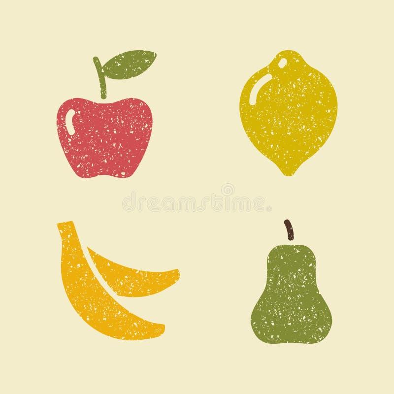 苹果计算机柠檬香蕉和梨 果子的风格化图象 向量例证
