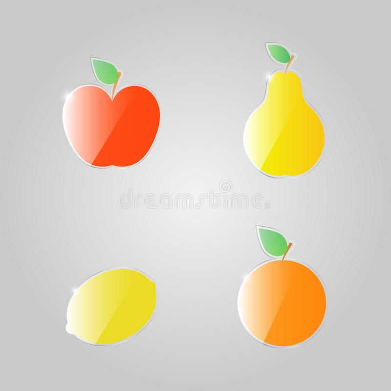 苹果计算机梨在灰色背景的柠檬桔子 库存例证