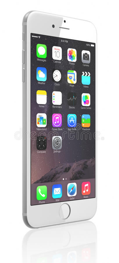 苹果计算机正银iPhone 6 库存例证
