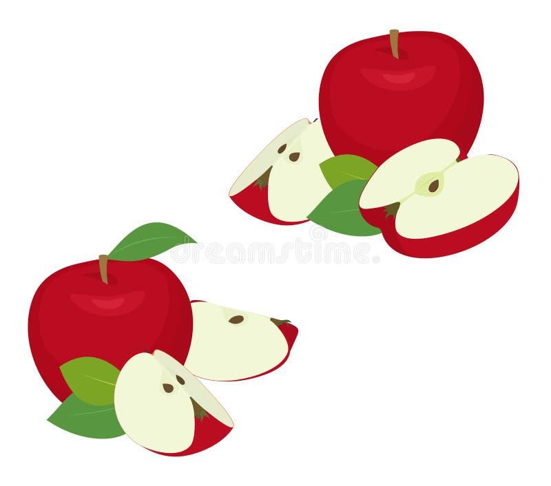 苹果计算机片断集合 与切片,裁减的整个红色苹果果子,与在白色背景的叶子作为成套设计元素 图库摄影