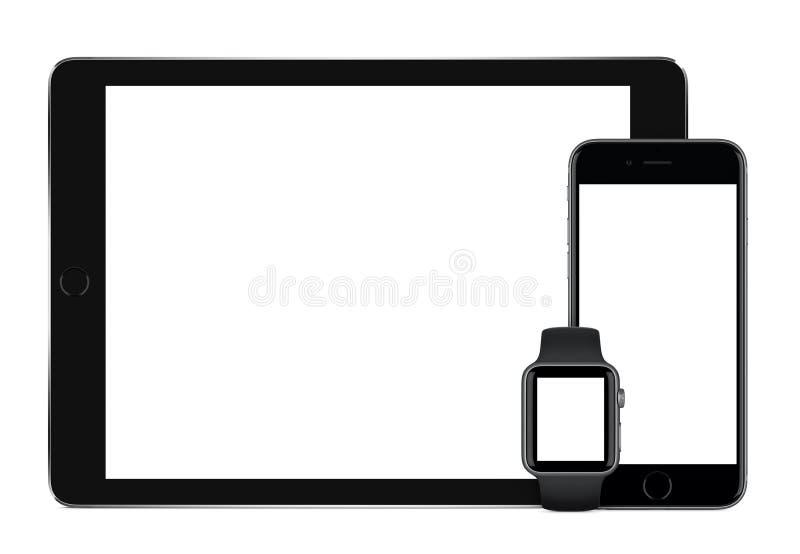 苹果计算机空间灰色iPad赞成iPhone 6S和苹果计算机观看大模型 库存照片