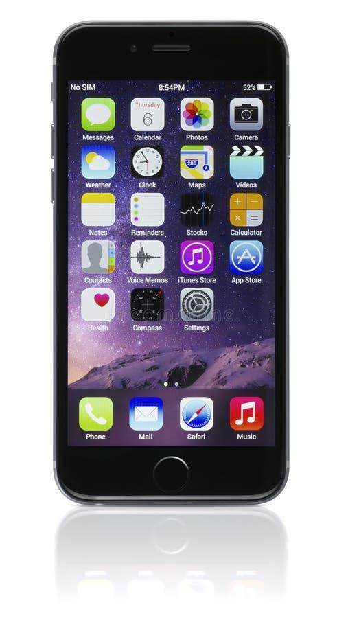 苹果计算机空间灰色iPhone 6 免版税库存图片