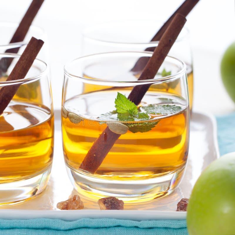 苹果计算机,白葡萄酒拳打,茶,仔细考虑了萍果汁 免版税库存照片