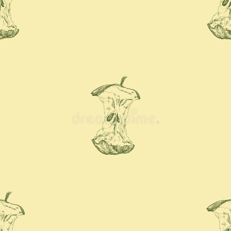 苹果计算机 与苹果核心的无缝的背景 艺术方式女孩例证安排您文本的向量 图画递她的温暖的妇女年轻人的早晨内衣 与自然主题的样式为 免版税库存图片