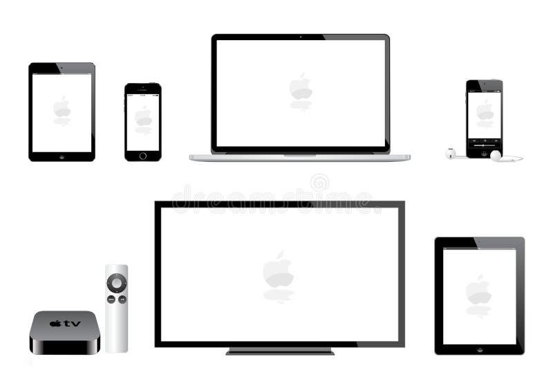 苹果计算机ipad微型iphone iPod橡皮防水布电视 库存例证