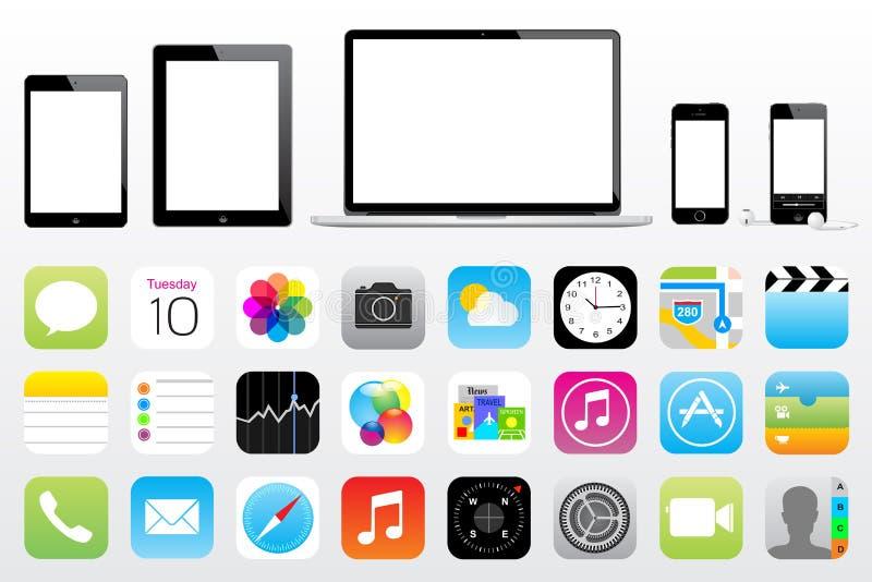 苹果计算机ipad微型iphone iPod橡皮防水布象 皇族释放例证