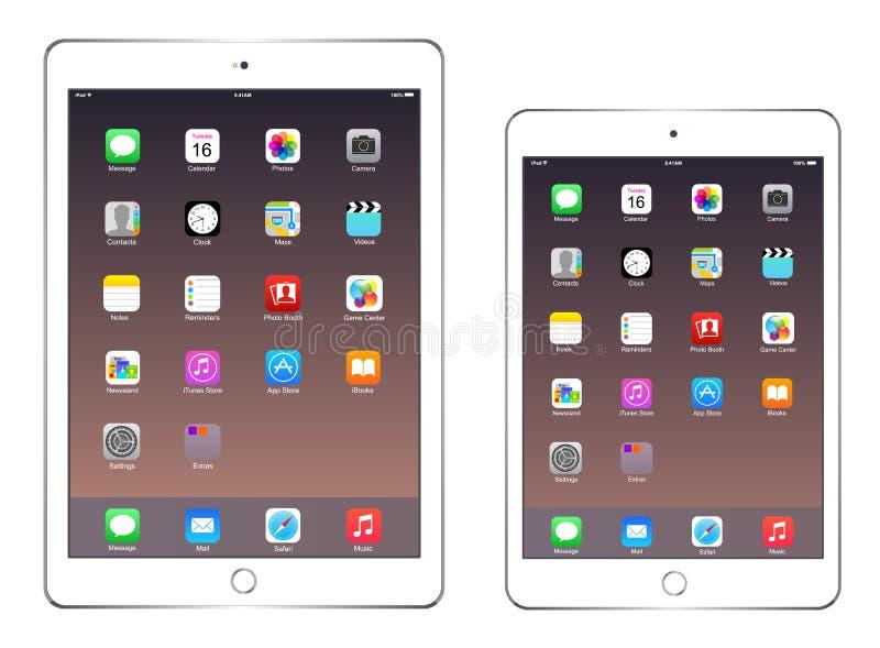 苹果计算机iPad空气2和iPad微型3 库存例证