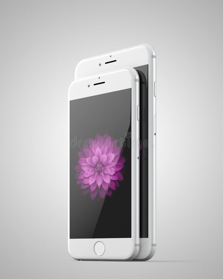 苹果计算机iphone 6和6正 皇族释放例证