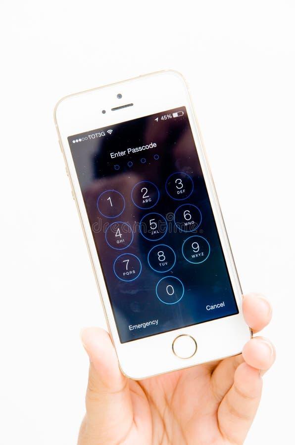 苹果计算机iPhone 5进入密码屏幕 免版税库存照片