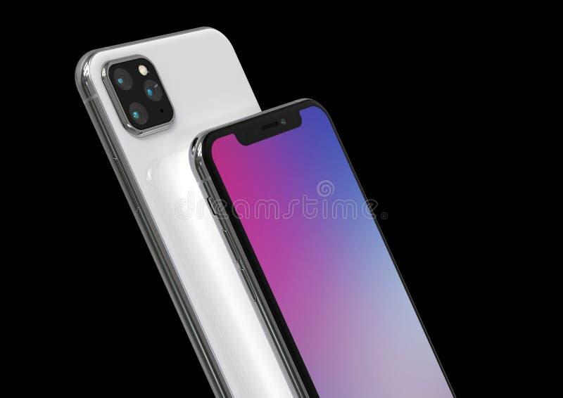 苹果计算机iPhone Xs后继者,2019年,漏了设计模仿 皇族释放例证