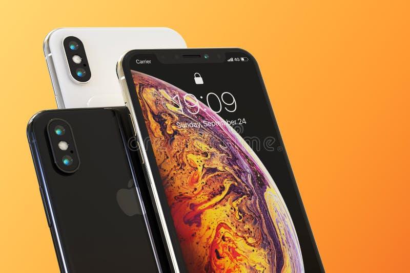 3苹果计算机iPhone XS智能手机构成 皇族释放例证