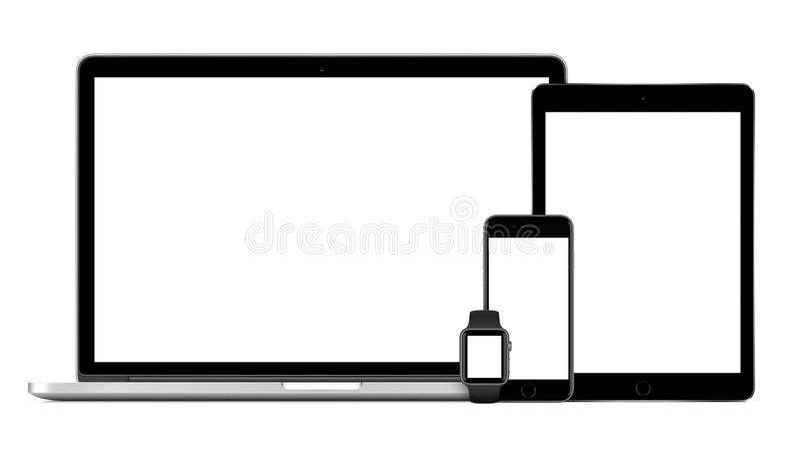苹果计算机MacBook赞成与空间灰色iPad赞成iPhone 6S苹果计算机手表 库存图片