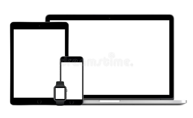 苹果计算机MacBook赞成与空间灰色iPad赞成iPhone 6S苹果计算机手表 免版税库存照片