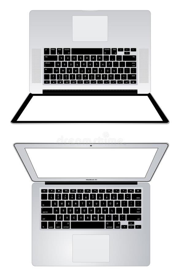 苹果计算机macbook赞成macbook空气 库存例证