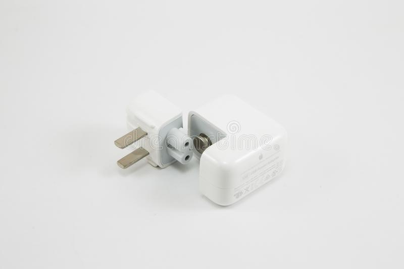 苹果计算机USB充电器适配器 图库摄影