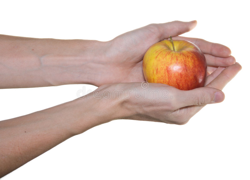 苹果递男性红色 免版税库存照片