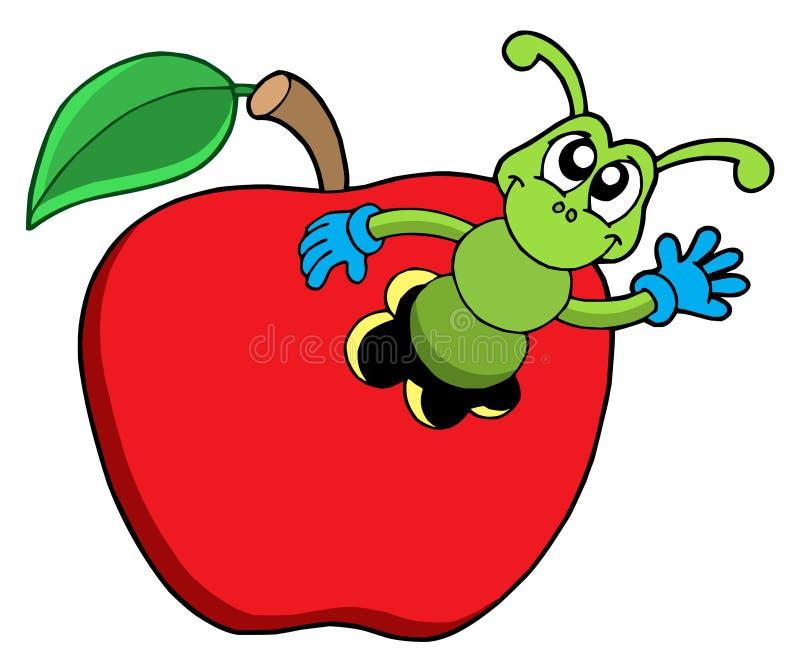 苹果逗人喜爱的蠕虫 库存例证