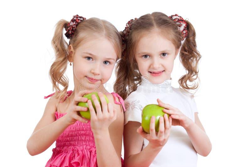 苹果食物健康女孩的绿色 图库摄影