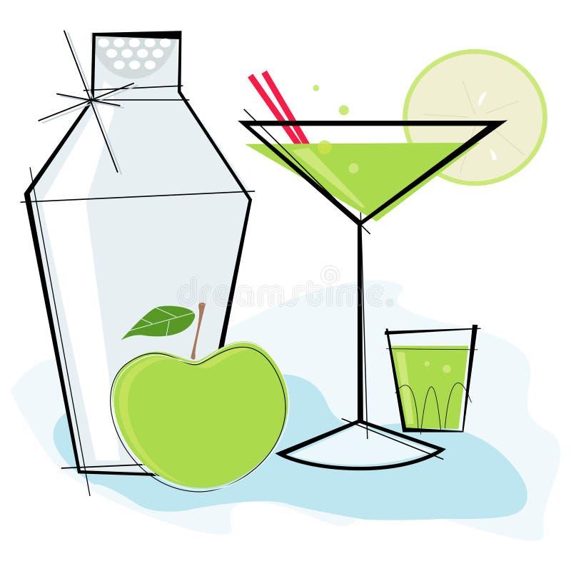 苹果马蒂尼鸡尾酒减速火箭的样式 库存例证