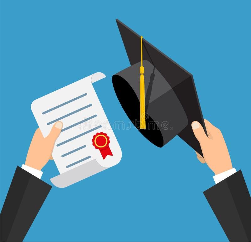 苹果登记概念教育红色 毕业帽子和文凭与邮票和丝带在学生的手上 在舱内甲板的传染媒介例证 库存例证