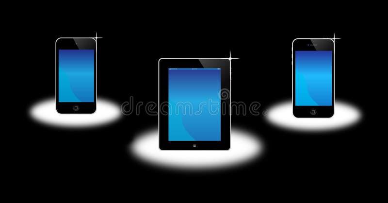 苹果ipad iphone iPod 皇族释放例证