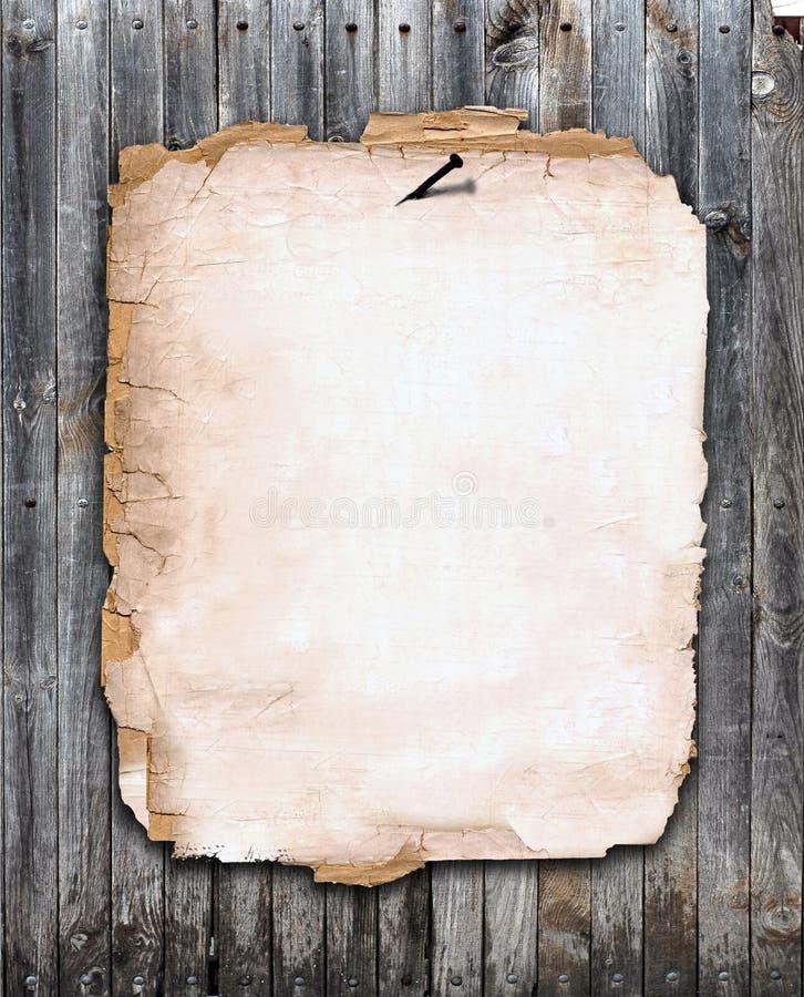 范围对木头的被固定的老纸张 库存例证