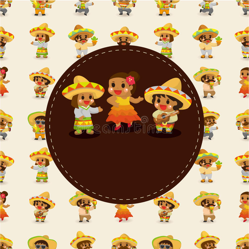 范围董事会看板卡动画片墨西哥音乐 向量例证