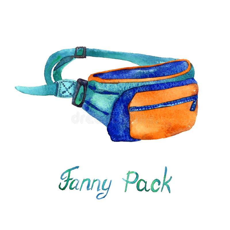 范妮传送带袋子的组装类型在蓝色,桔子和绿松石色板显示的,隔绝在白色背景 库存例证