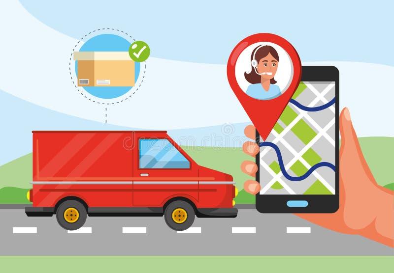 范运输和手有gps地点和电话中心服务的 向量例证
