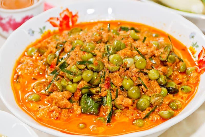 茄子咖喱用猪肉 免版税库存图片