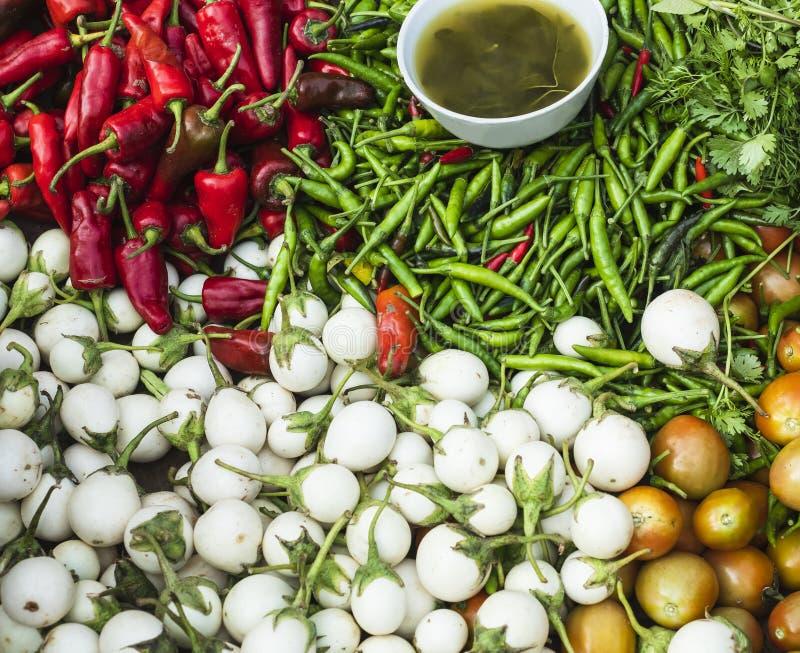 茄子蕃茄绿色辣椒红色辣椒烹调成份五颜六色的新鲜蔬菜的亚洲 免版税库存照片