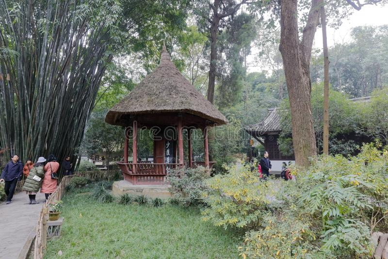 茅屋顶亭子在杜甫盖了村庄公园,多孔黏土rgb 免版税库存图片