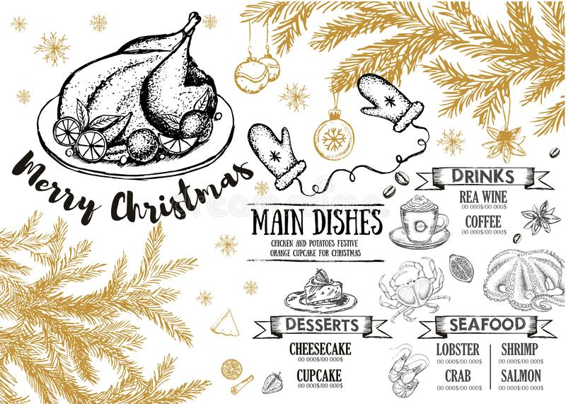 茴香圣诞节叉子节假日例证菜单桔子向量 餐馆咖啡馆菜单,模板设计 食物飞行物 向量例证
