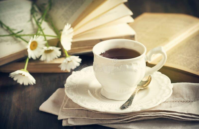 茶、书和春黄菊 库存图片
