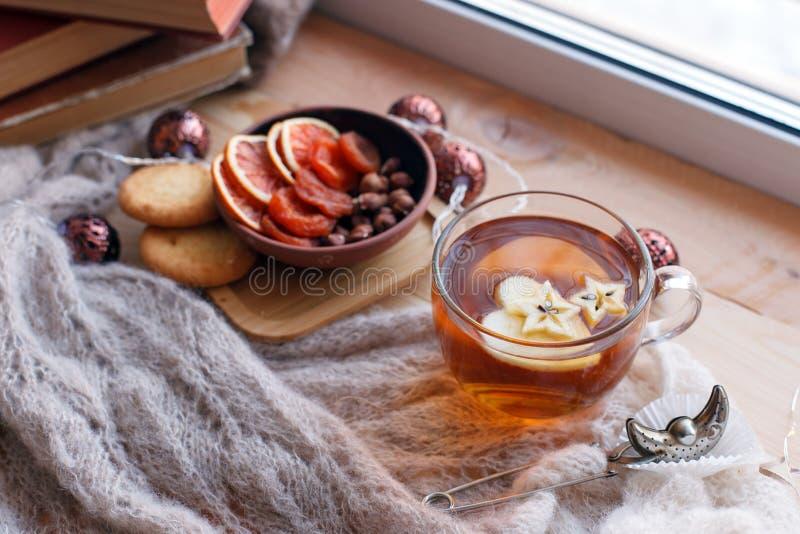茶、快餐、书和温暖的毯子在窗台,关闭,放松拔去背景,季节性亲切周末,爱读 库存照片