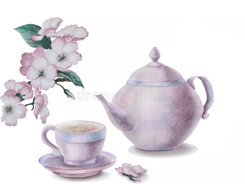 茶、茶壶和开花的枝杈 库存照片