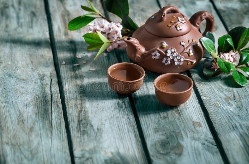 茶与春花背景 图库摄影