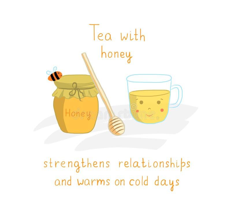 茶与杯子和蜂蜜瓶子和蜂,传染媒介例证的时间海报 皇族释放例证
