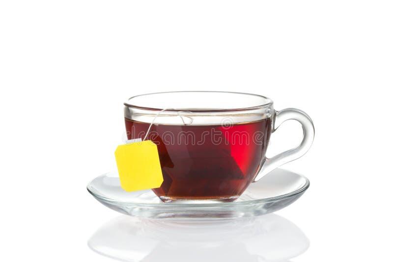 茶与里面袋子(空白标签)的 库存图片
