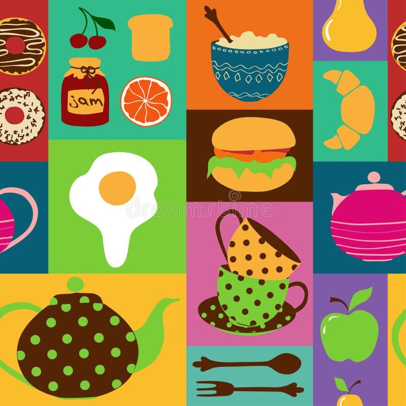 茶具和早餐的无缝的样式 向量例证
