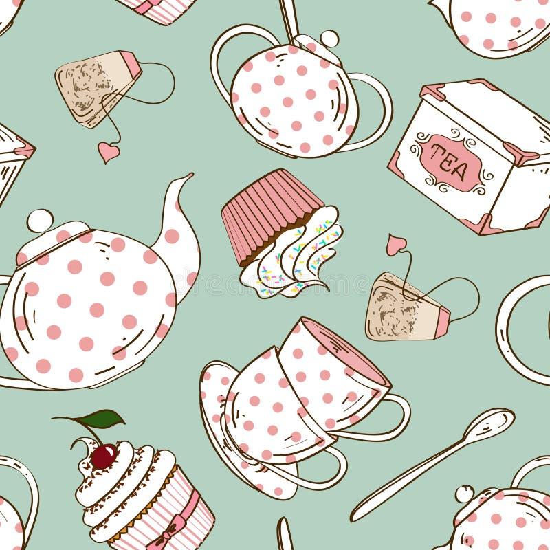 茶具和杯形蛋糕的无缝的样式 向量例证