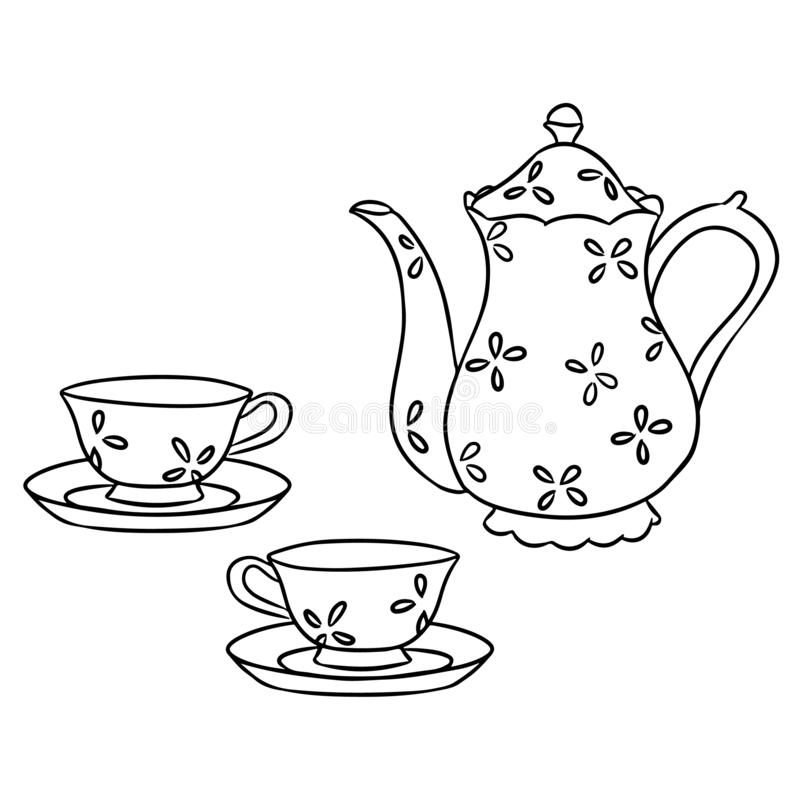 茶具手拉的传染媒介剪影乱画 向量例证