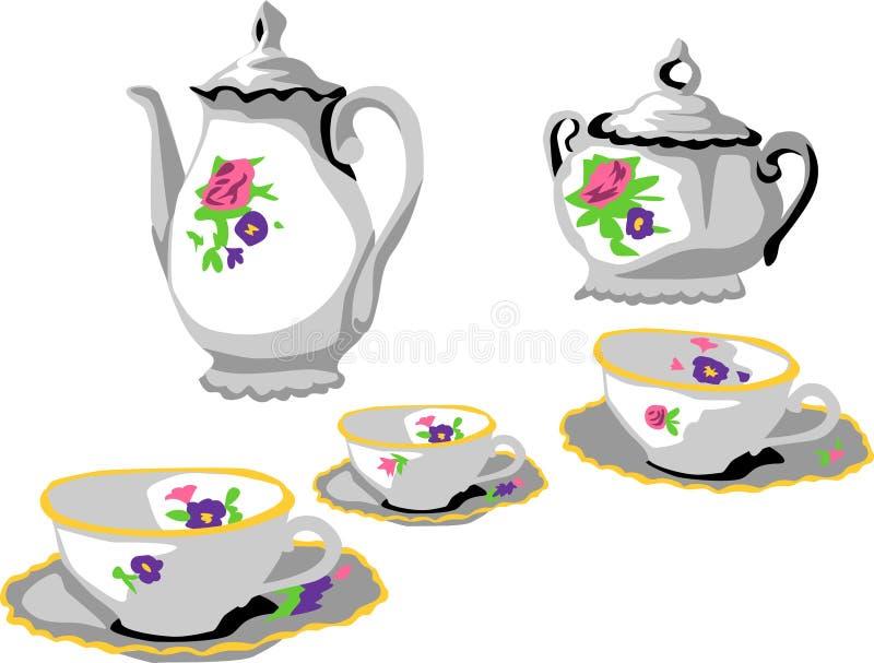 Download 茶具 向量例证. 插画 包括有 饮料, 咖啡馆, 餐具, 装饰品, 牌照, 早晨, 陶瓷, 服务, 装饰 - 30338388