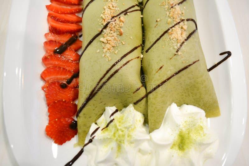 绿茶冰淇凌绉纱 库存照片