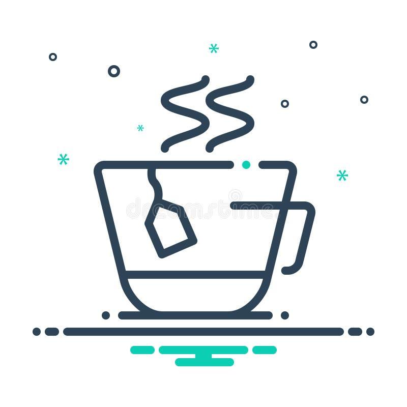 茶包、杯子和生气勃勃的黑混合象 向量例证