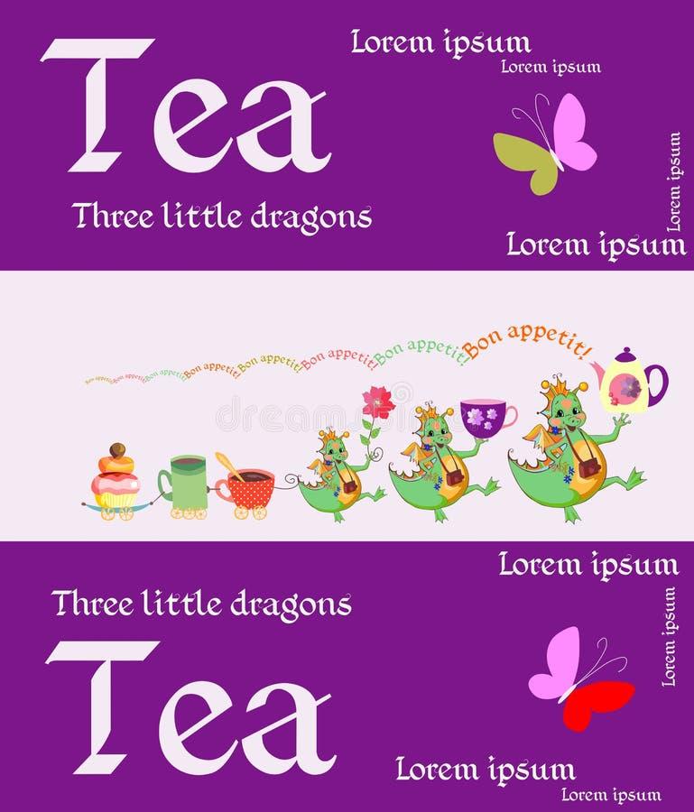 茶包装 与神仙的图象的逗人喜爱的卡片 皇族释放例证