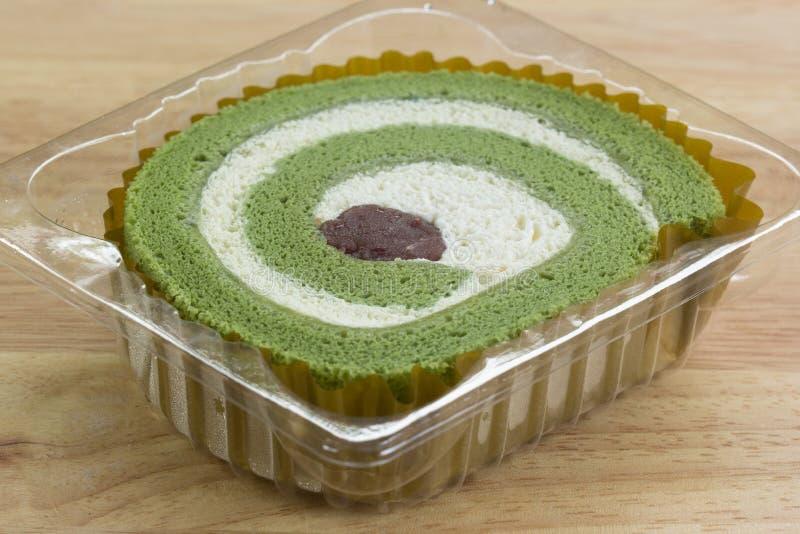 绿茶卷蛋糕蛋糕 免版税库存图片