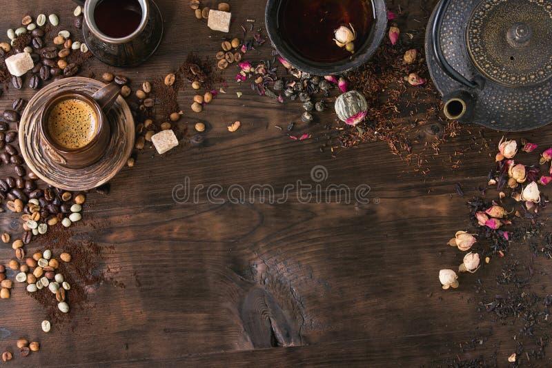 茶和咖啡的分类作为背景 库存照片