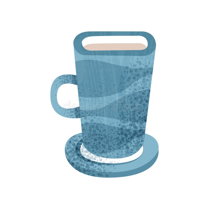 茶和咖啡的大蓝色杯子 有小茶碟的陶瓷杯子 热的饮料的瓦器船 与纹理的平的传染媒介 库存例证