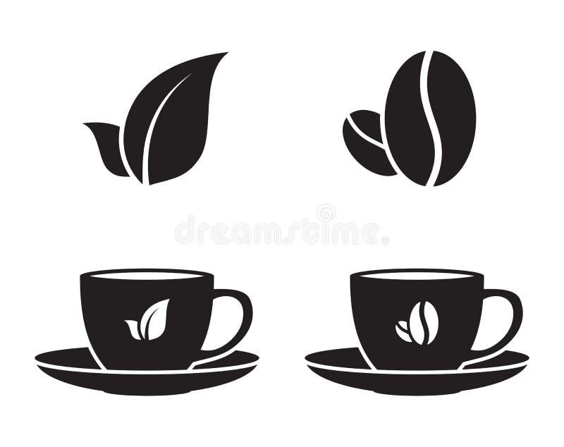 茶和咖啡象 库存例证